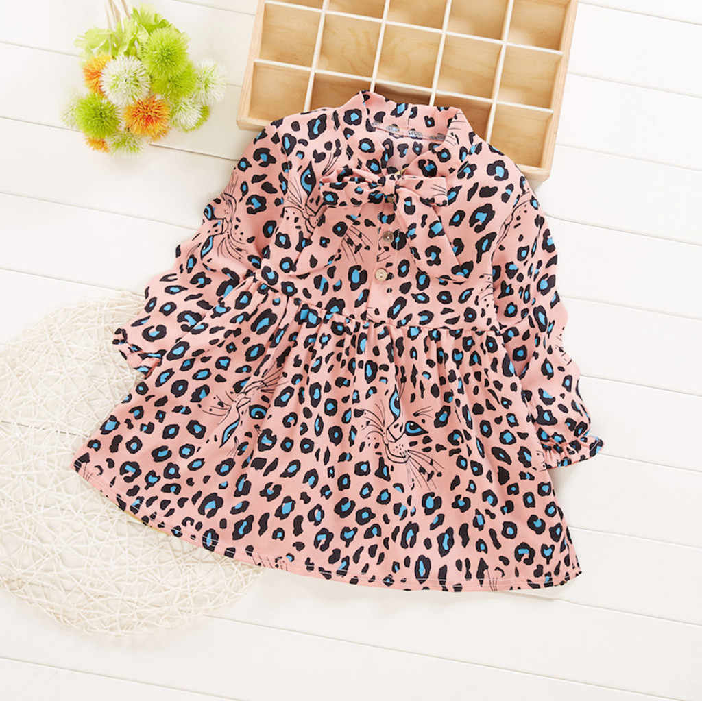 Toddler Baby Kids Girls Ruched Bow Cartoon Leopard Print Dress Casual Clothes vestidos de batizado 2 anos weihnachtskleid baby