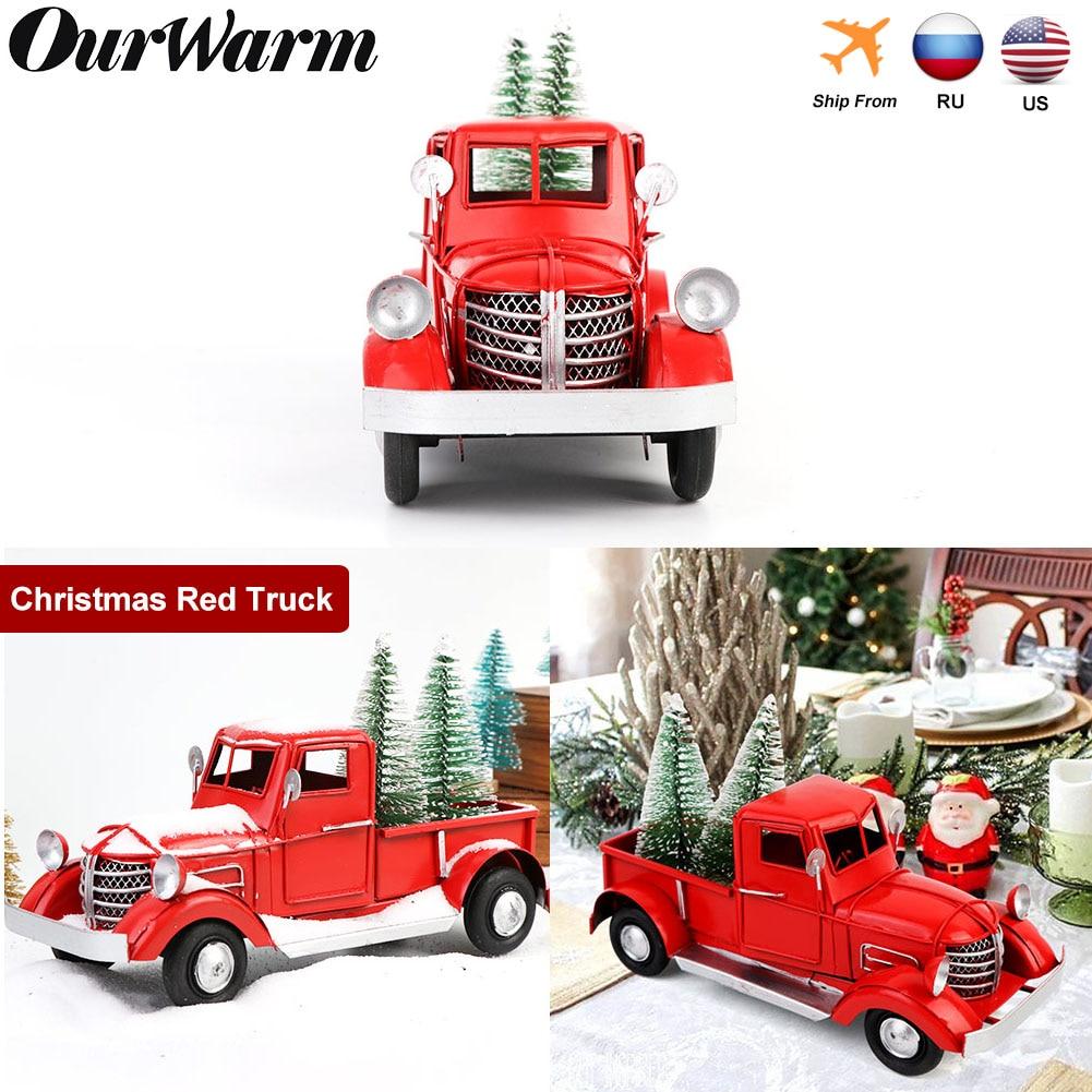 Decoración de escritorio de Navidad de camioneta roja para niños, regalos de Año Nuevo, decoración Vintage de Metal para oficina y hogar, 17cm/22cm