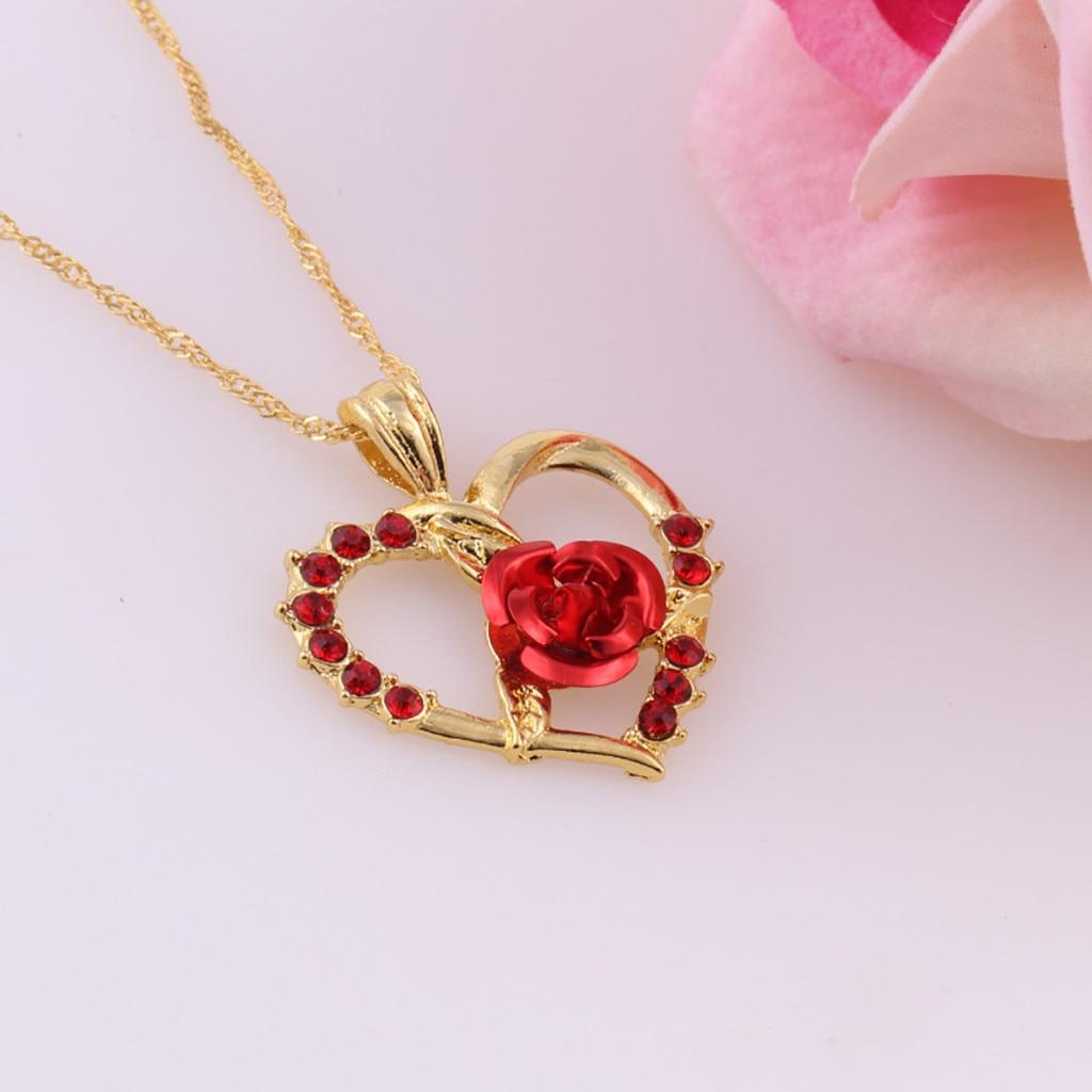 Collier zircon roses rouges pendentif en forme de coeur 3