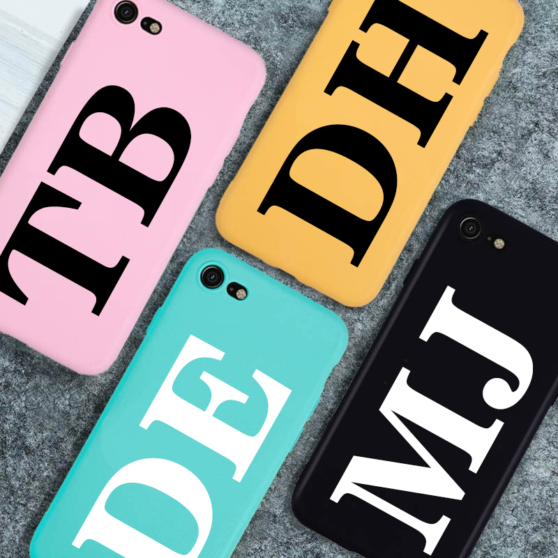 Personalised Name Initial Soft TPU Case For iPhone X XR XS 11Pro MAX 6S 6 7 8 Plus Anti-fall Candy colors Cover Coque Shell
