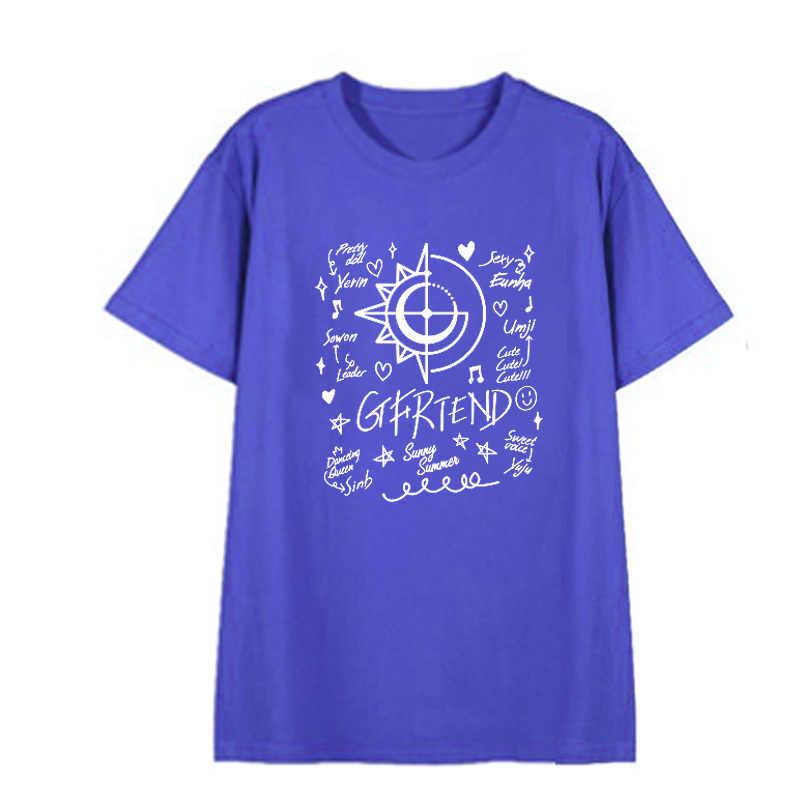 Kpop Gfriend סאני קיץ אלבום מאוורר מועדון חולצות Streetwear Loose חולצת טי T חולצה קצר שרוול חולצות חולצה DX799