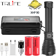 Led flashlight XHP90 Flashlights power 2*26650 or 2*18650 battery Most powerful Tactical Flash light torch For Camping Hunting convoy l6 flashlight xhp70 led inside night light for outdoor camping fishing hunting with 2 26650 battery
