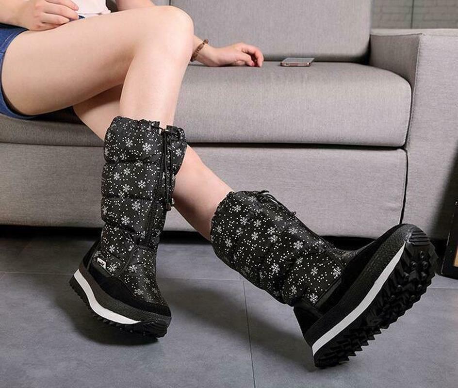 Femmes hiver mi-mollet bottes Top Pull sur imperméable en peluche neige chaussures flocon de neige imprimé épaissir chaud Zip à lacets 6Styles Plus Sz - 4