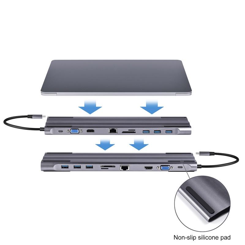 USB C HUB Type C to Multi USB 3 0 HDMI VGA RJ45 SD Card Reader for MacBook Pro Adapter USB C 3 0 Splitter Port USB C HUB in USB Hubs from Computer Office