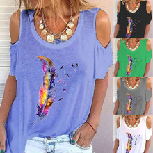 Summer European and American New Round Neck Off Shoulder Tops Retro Printed T-shirt Loose Casual Shirt Feather Pattern Pullover
