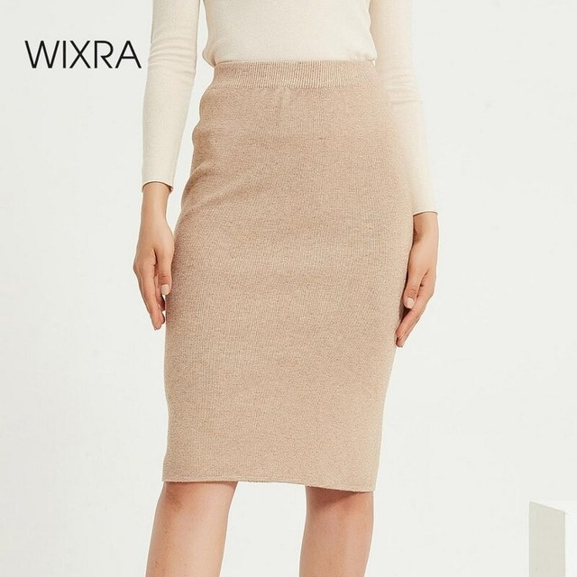 Wixra Womens Knitted Straight Skirts Solid Basic Ladies High Waist Knee-length Skirt Streetwear 2020 Autumn Winter New 1