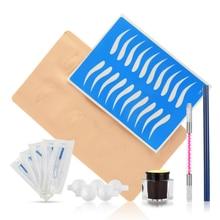 Drop Ship Microblading Kit Practice Skin Manual Pen Needle Blades Pigment for Eyebrow Eyeliner Lip Permanent Makeup Tattoo Tool