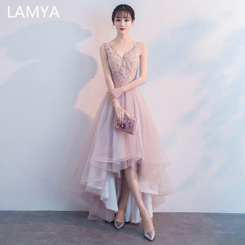 LAMYA Pink Appliques Front Back Long Tail Banquet Prom Dresses Sleeveless Formal Party Gown Elegant Plus Size vestido de noiva