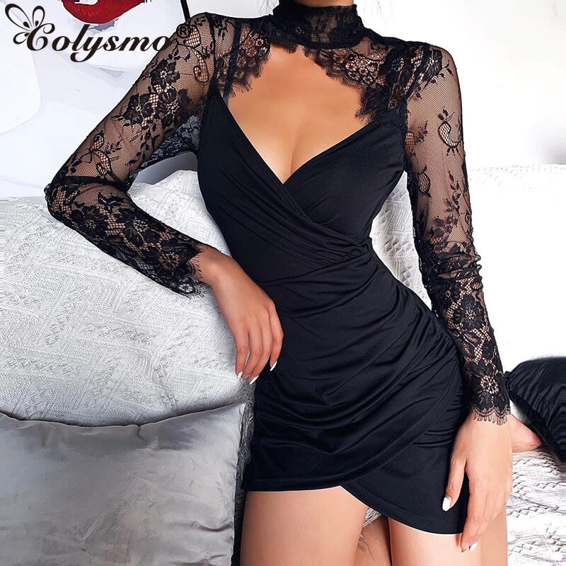 Colysmo Floral Lace Patchwork Sexy Dress Turtleneck Hollow Out Evening Party Dress Clubwear Tight Mini Short Dresses Black 2020 image