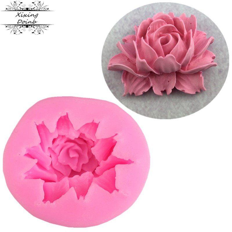 DIY 3D rose fudge mold silicon gum craft cake decoration clay mold paper cup cake candy cake decoration tool