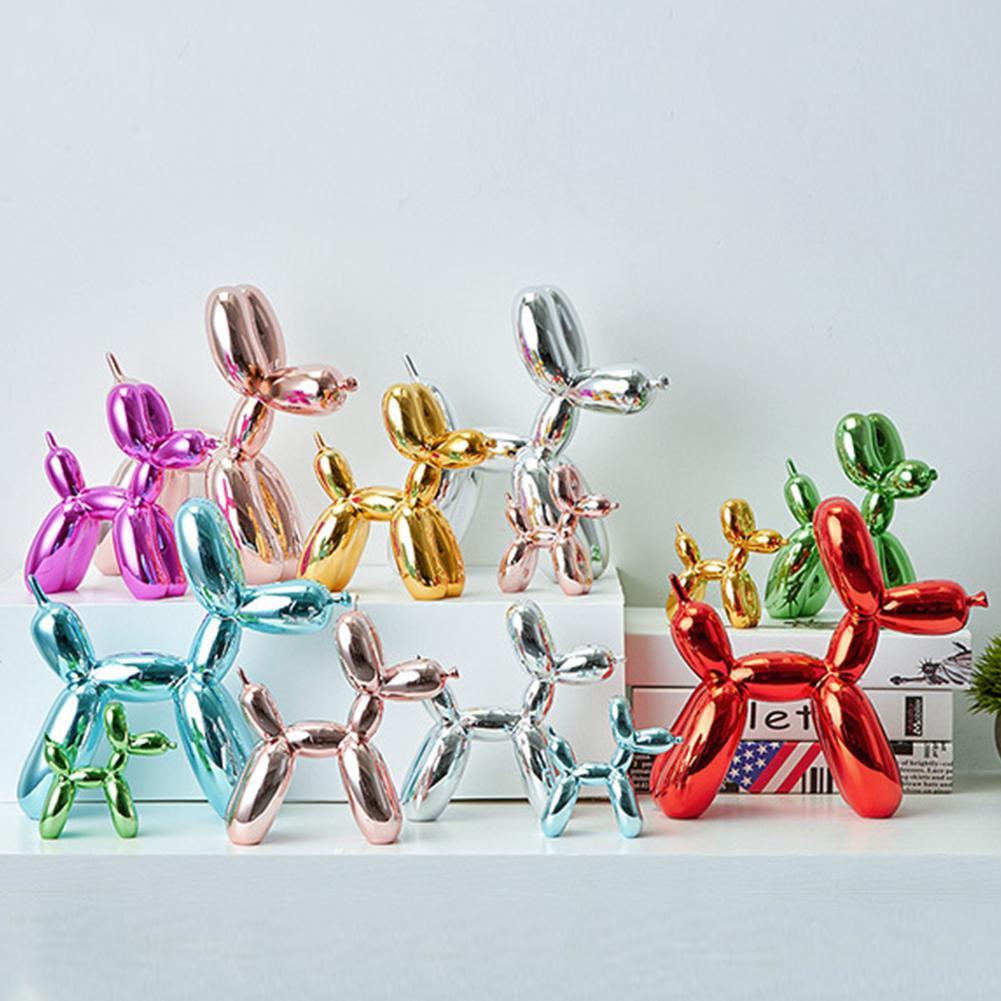 Animals Figurine Resin Cute Shiny Balloon Dog Shape Statue Art Sculpture Figurine Craftwork Desktop Home Decor With Antiskid Mat
