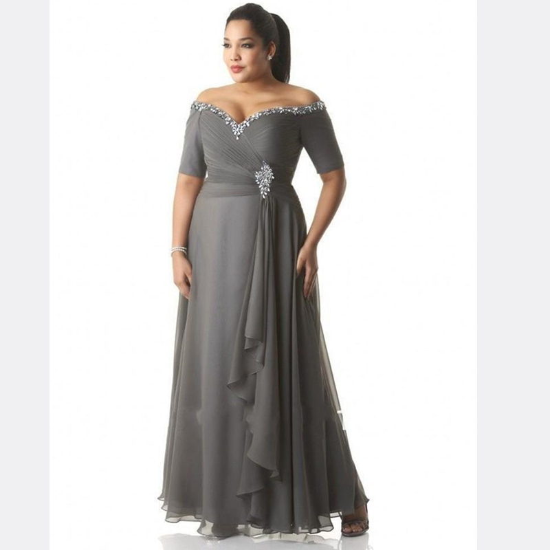 Plus Size Mother Of The Bride Dress Grey Chiffon Off Shoulder Short Sleeve Crystals Beading Evening Gowns Wedding Party Guest