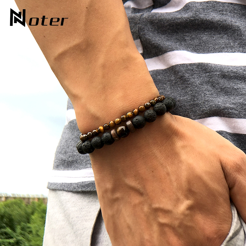 Noter 2pcs Male Bracelet Set Natural Lava Obsidian Tiger eye Braslet 4mm Small Beads Braclet For Men Accessories Camping Jewelry