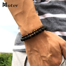 Noter 2pcs Male Bracelet Set Natural Lava Obsidian Tiger eye Braslet 4mm Small Beads Braclet For Men Accessories Camping Jewelry(China)