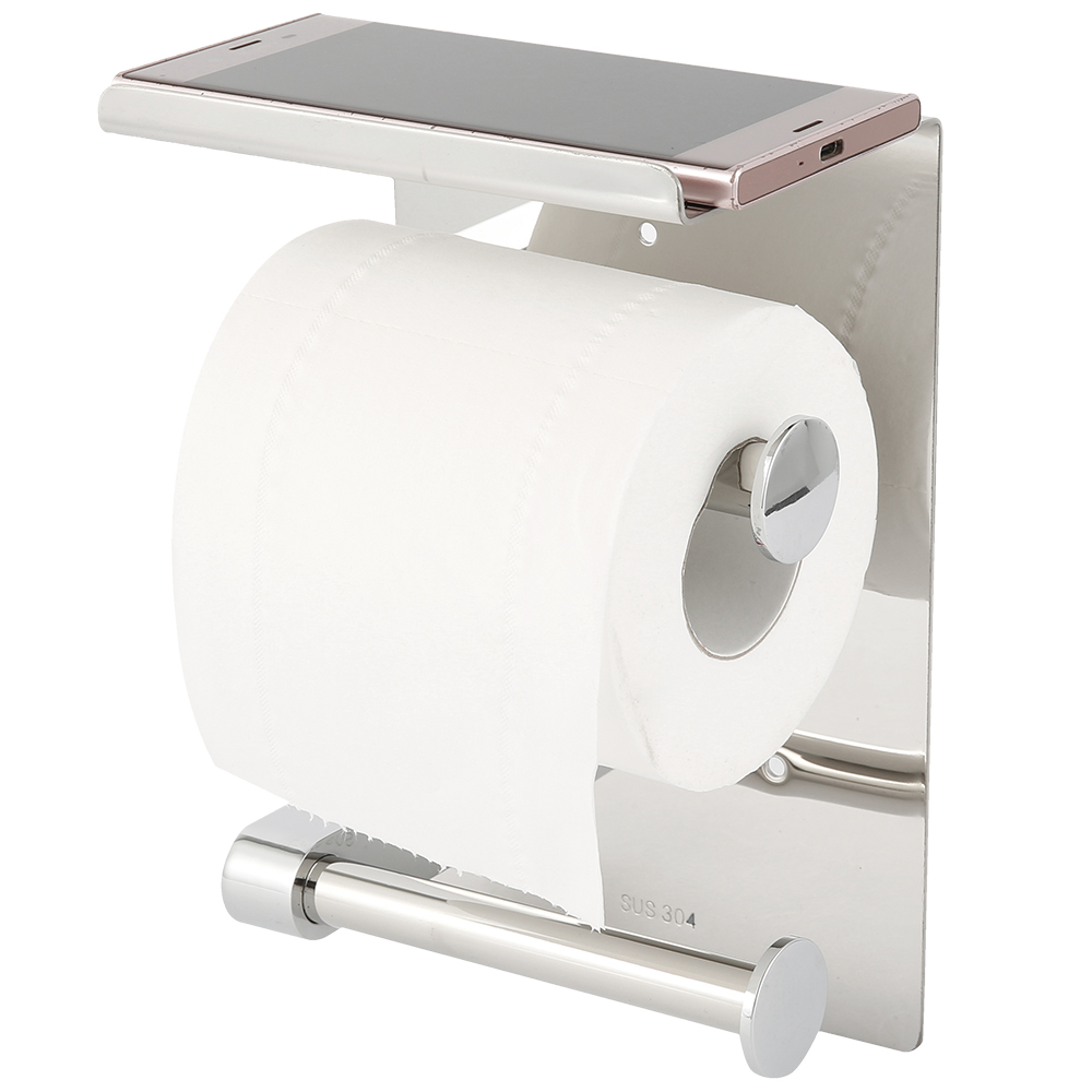 Bathroom Toilet Paper Holder Stainless Steel Wall Mounted Double Roll Toilet Paper Towel Holder With Shelf  Bathroom Accessory