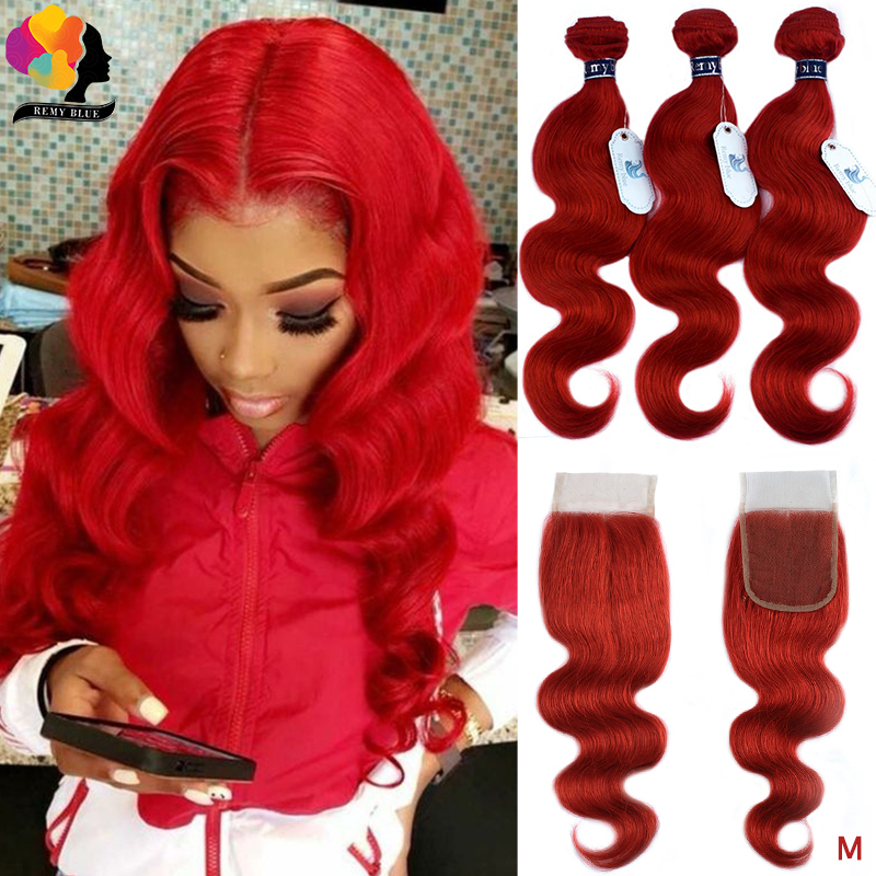 RemyBlue Burgundy Red 99J Pre-Colored Body Wave Bundles With Closure Brazilian Human Hair Weave 3 Bundles With Closure Remy Hair