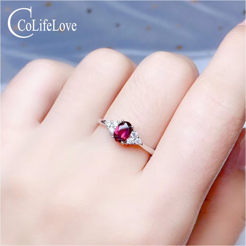 Colife Jewelry 925 Silver Garnet Ring For Daily Wear 4mm*6mm Natural Garnet Silver Ring Stelring Silver Garnet Jewelry