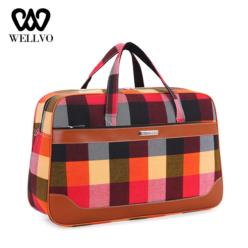 Colorful Plaid Travel Bag For Women Large Sac De Fashion Fitness Bags Young Female Luggage Duffle Shoulder Weekend Bag XA313WB