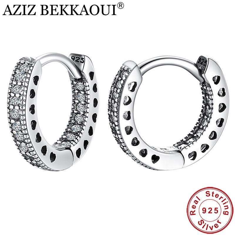 AZIZ BEKKAOUI 925 Sterling Silver CZ Simple Female Hoop Earrings Jewelry For Women Sterling Silver Jewelry Christmas Gift