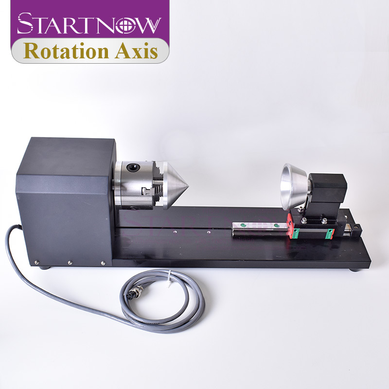 Rotation Axis Rotary Engraving Attachment With Wheels Rollers Stepper Motors For CO2 CNC Laser Engraving Cutting Machine Model A
