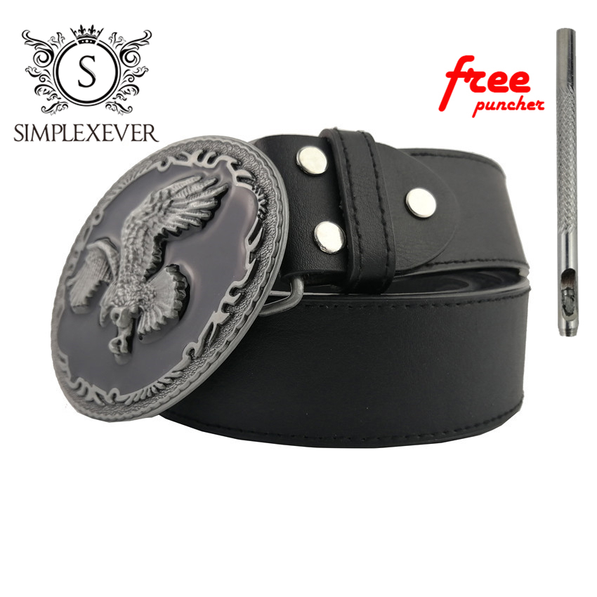 Cool 3D Silver Eagle Cowboy Belt Buckle for Oval Metal Men Buckles Belt Accessories Fit 4cm Wide Belt