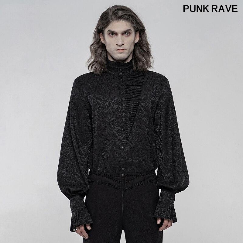 \DealShirt Blouses Jacquard Long-Sleeve Retro Gothic Punk Rave WY-1260CCM Decorative-Buttons