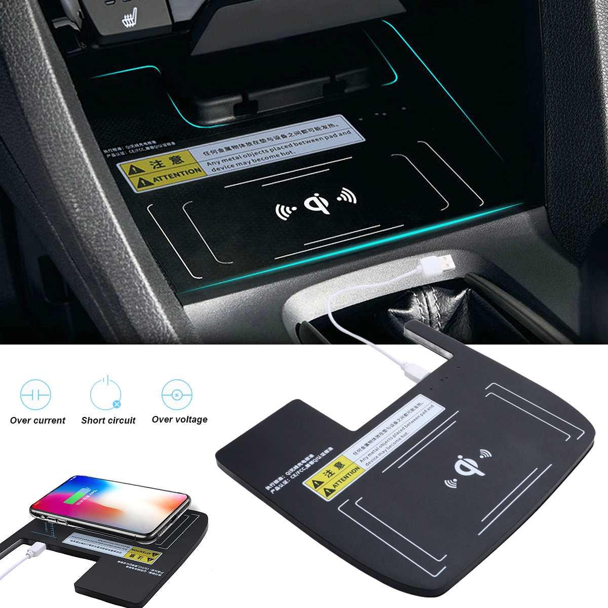 Portable voiture sans fil Qi chargeur intérieur téléphone support de charge pour Honda pour Civic 10th 2016-2018 voiture Console boîte de rangement