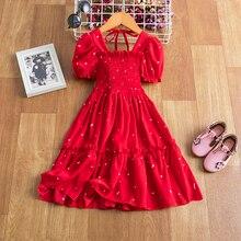 Для девочек, красного цвета, с рюшами, с принтом; Платье принцессы для девочек Детская элегантная одежда для девочек, для свадебного торжест...