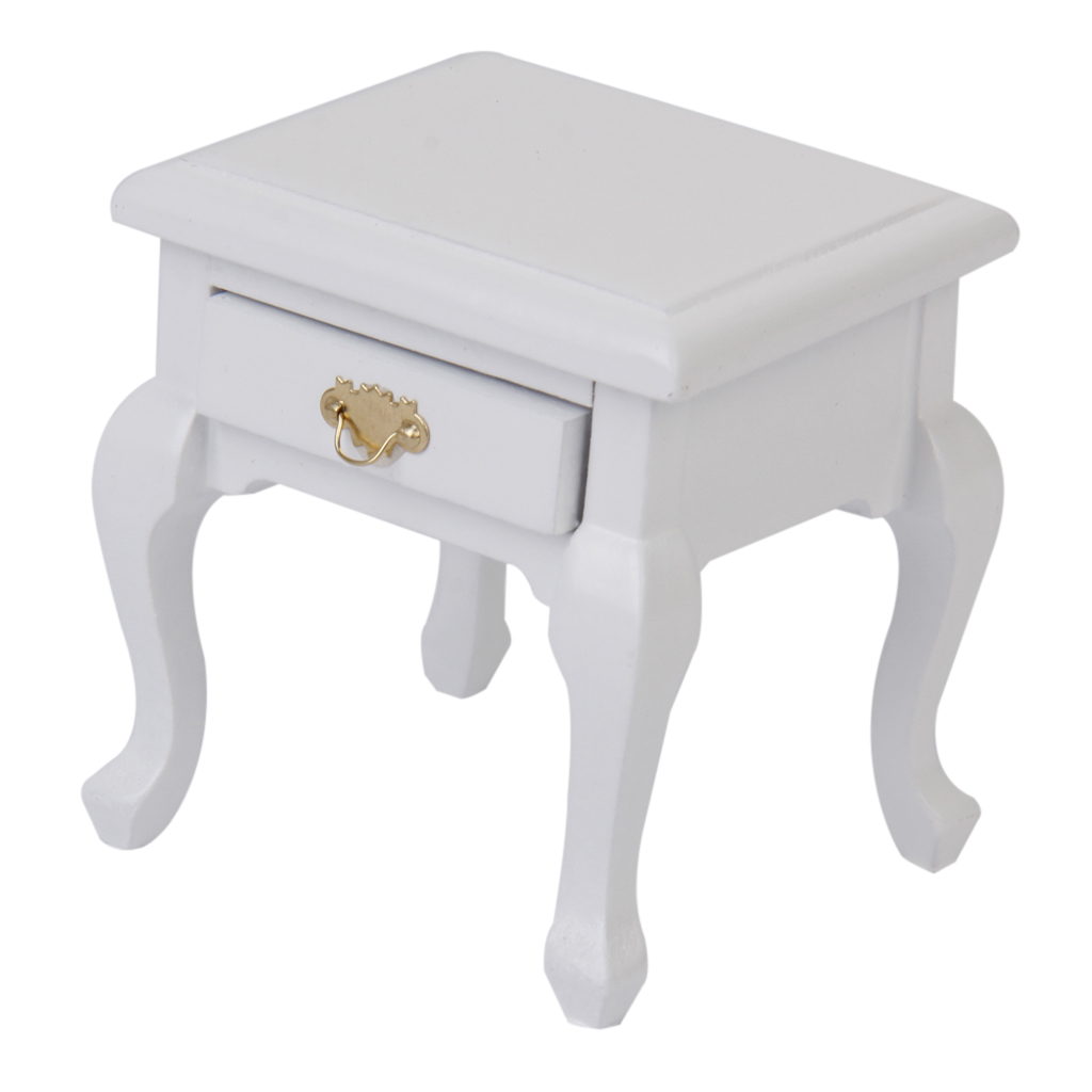 1 12 Dolls House Bedroom Furniture White Wood Bedside Table Nightstand Cabinet Furniture Toys Aliexpress