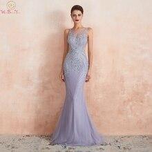 Lavanda Abiti Da Sera 2020 Sirena Senza Maniche Convenzionale Lungo Delle Donne del Vestito Elegante In Rilievo Di Cristallo Sheer Neck Sweep Treno Prom Abito