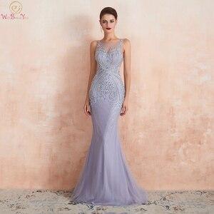 Image 1 - Lavender Evening Dresses 2020 Mermaid Sleeveless Long Formal Dress Women Elegant Beaded Crystal Sheer Neck Sweep Train Prom Gown