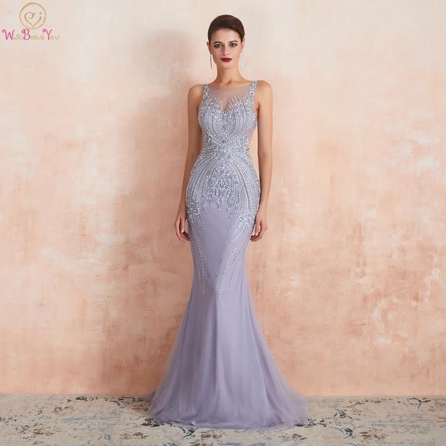 Lavender Evening Dresses 2020 Mermaid Sleeveless Long Formal Dress Women Elegant Beaded Crystal Sheer Neck Sweep Train Prom Gown