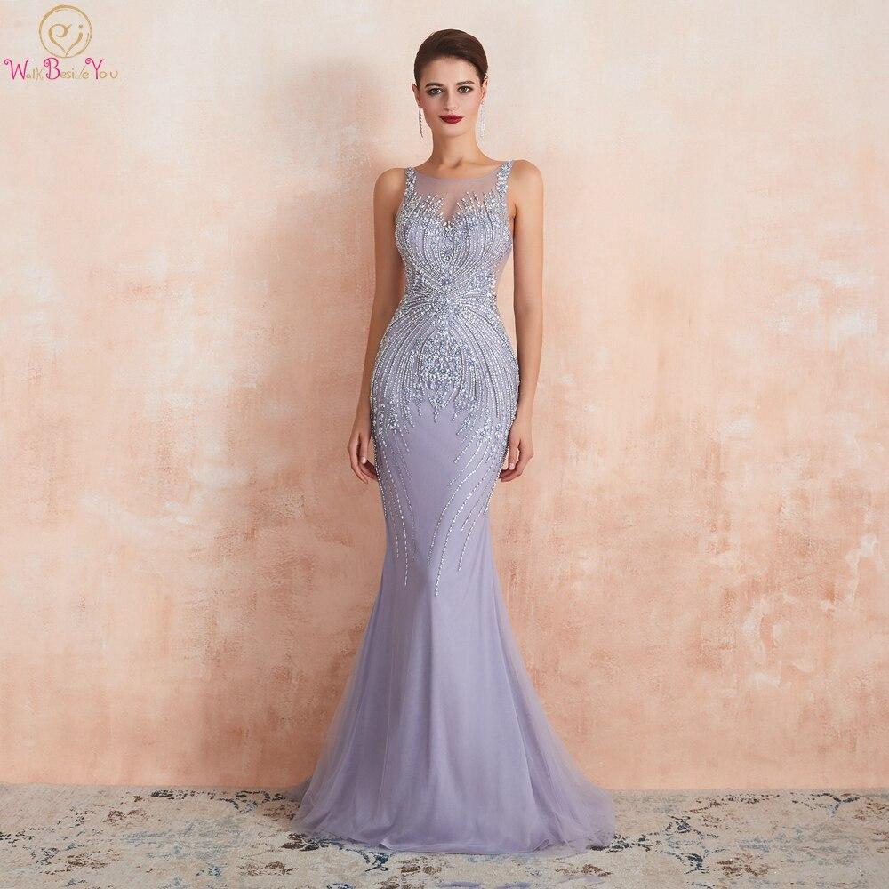 Robes de soirée lavande 2019 sirène sans manches longue robe formelle femmes élégant perlé cristal transparent cou balayage Train robe de bal