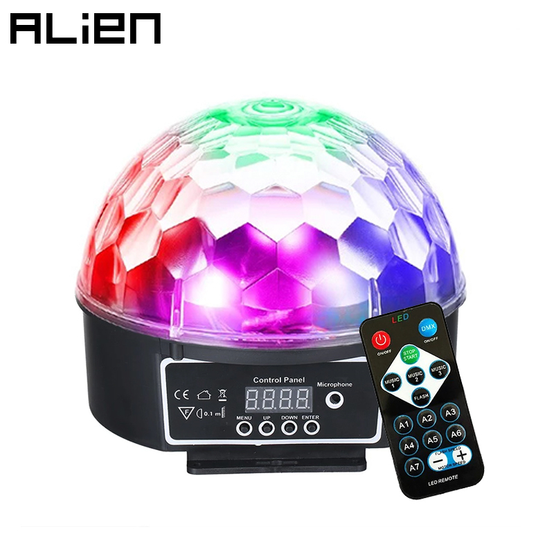 ALIEN 9 Colors LED Disco Ball DMX Crystal Magic Ball Stage Lighting Effect DJ Party Christmas Sound Activated Light With Remote