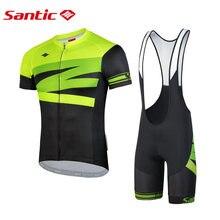 Santic мужские Велоспорт Джерси комплект велотрусы 4d стеганая