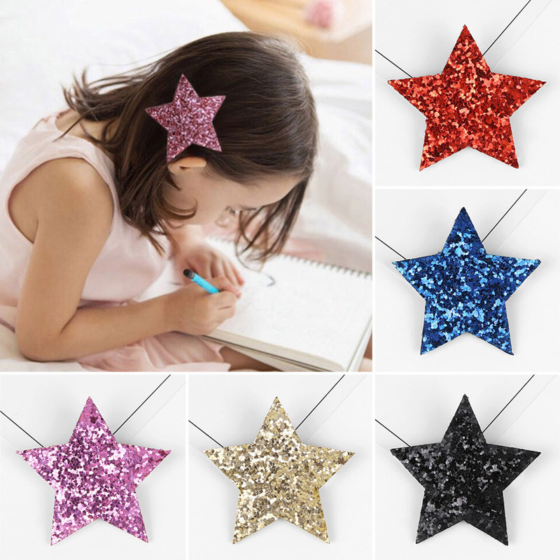New Style Children Lovely Princess Fashion Hairpin Pentagram Star Little Girl Headdress Primary School Student Side