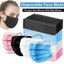 Masques buccaux jetables à 3 couches, 10/50/100 pièces, Anti-poussière, en tissu Non tissé, à boucles auriculaires élastiques