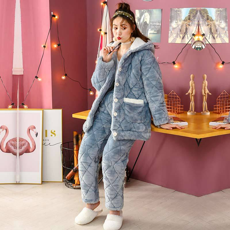 Pajamas Women Winter  Warm Thickening Flannel Coral Sleepwear Set Cute Blue  Soft Pajamas Rabbit Ear Women Print Homewear