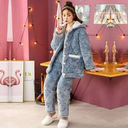 Pyjamas Frauen Winter Warme Verdickung Flanell Korallen Nachtwäsche Set Nette Blau Weichen Schlafanzug Kaninchen ohr Frauen Drucken Homewear