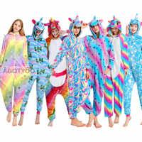 Pijamas de unicornio de franela para mujer, ropa de dormir, para casa, Kigurumi Stitch, Panda, Totoro, conjuntos de Pijamas de animales de dibujos animados, Pijamas de adulto