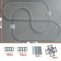 Train Tracks 4519 Cross Track City trein Straight Curved Railway Building Blocks Bricks Model Compatible All Brands Train Rails