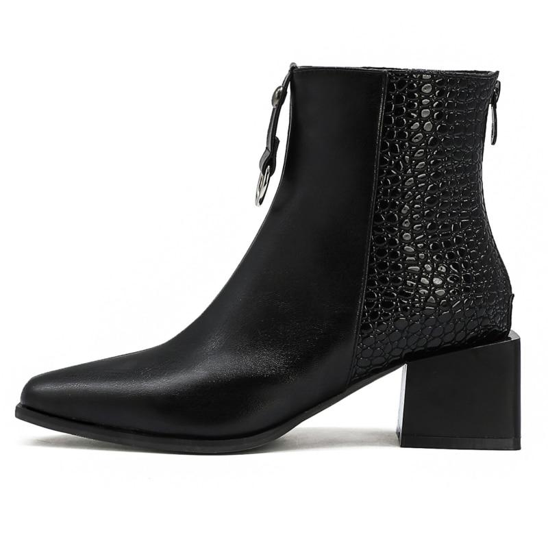 Stivali Sexy Della Caviglia Per Le Donne di Pelle di Serpente Stivali della Caviglia delle Donne di Modo di Cuoio di Lusso di Grandi Dimensioni Scarpe delle Donne di Formato Breve stivali 2020