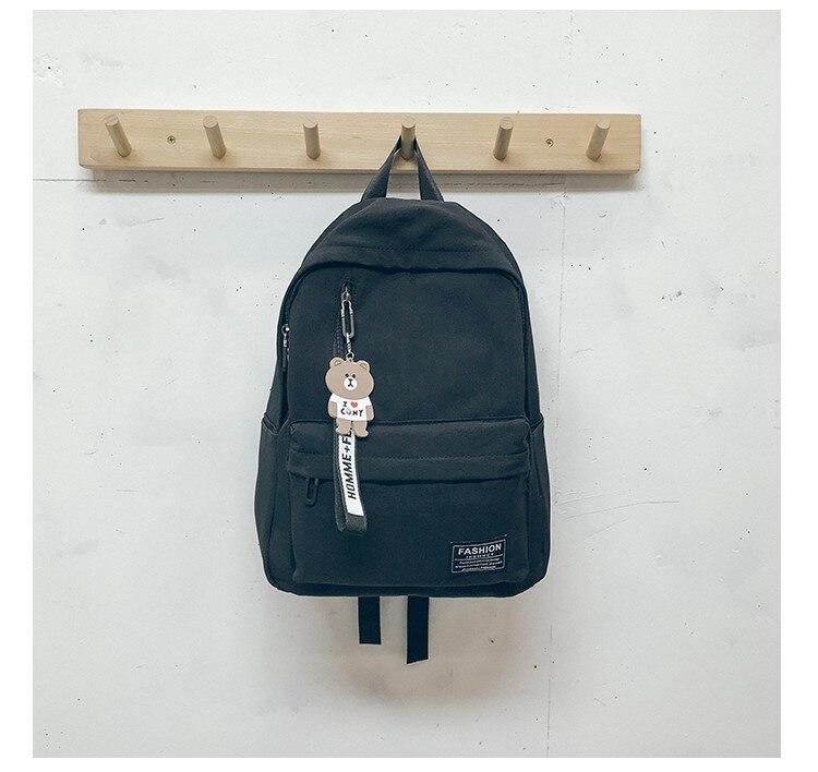 Solid Color Nylon Spin New Contrast Nylon Backpack Letter Bag Korean Campus Schoolbag High School Student Backpack Travel Bag