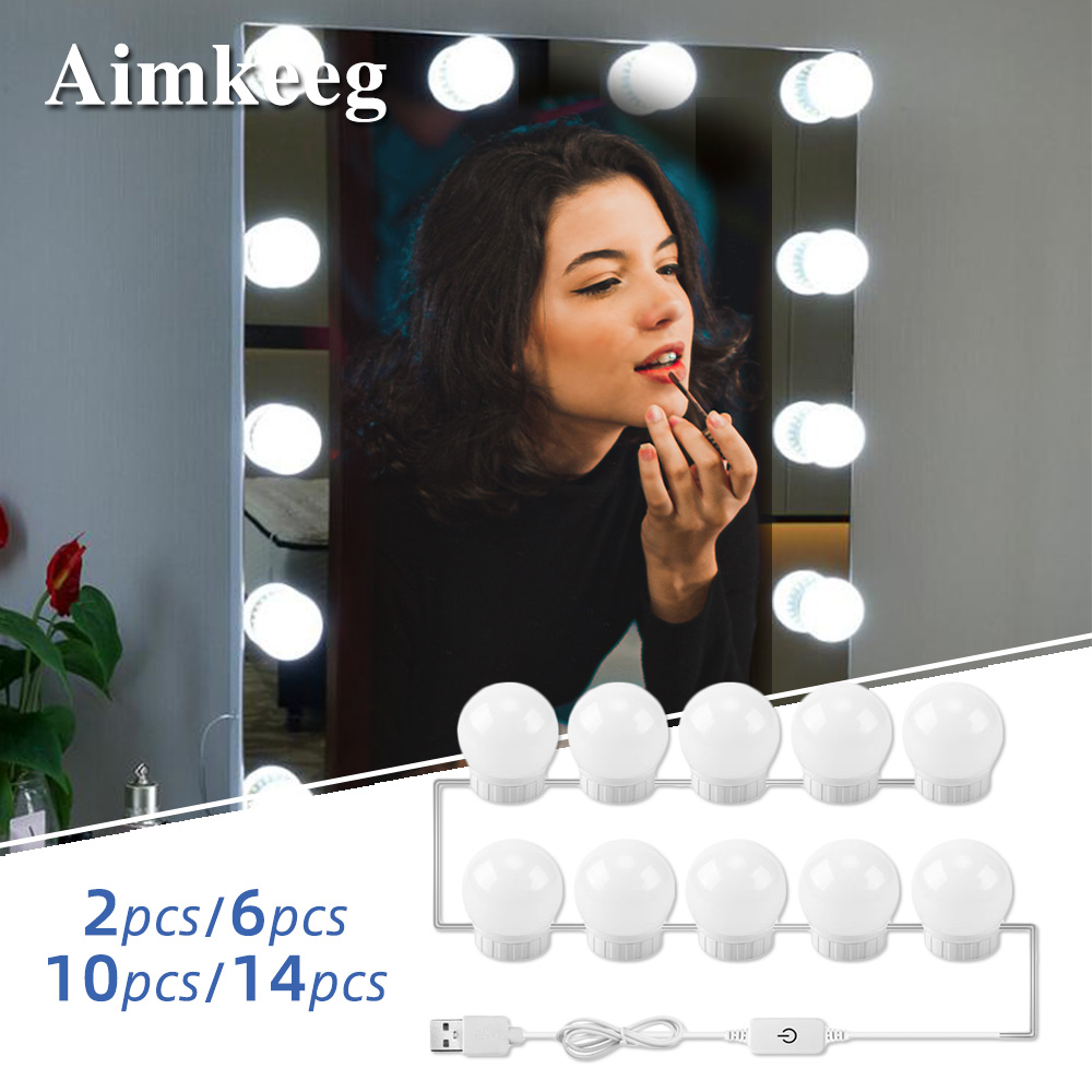 USB Led Mirror Light Bulbs Makeup Vanity Table Mirror Lights <font><b>Hollywood</b></font> Mirror Lamp Dressing Mirror Dimmable Cosmetic Lamp image