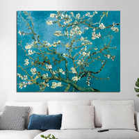 OUCAG Classic Almond Blossom Canvas Wall Art By Van Gogh Famous Flowers Water Proof Artwork Oil Paintings Canvas Poster Bedroom