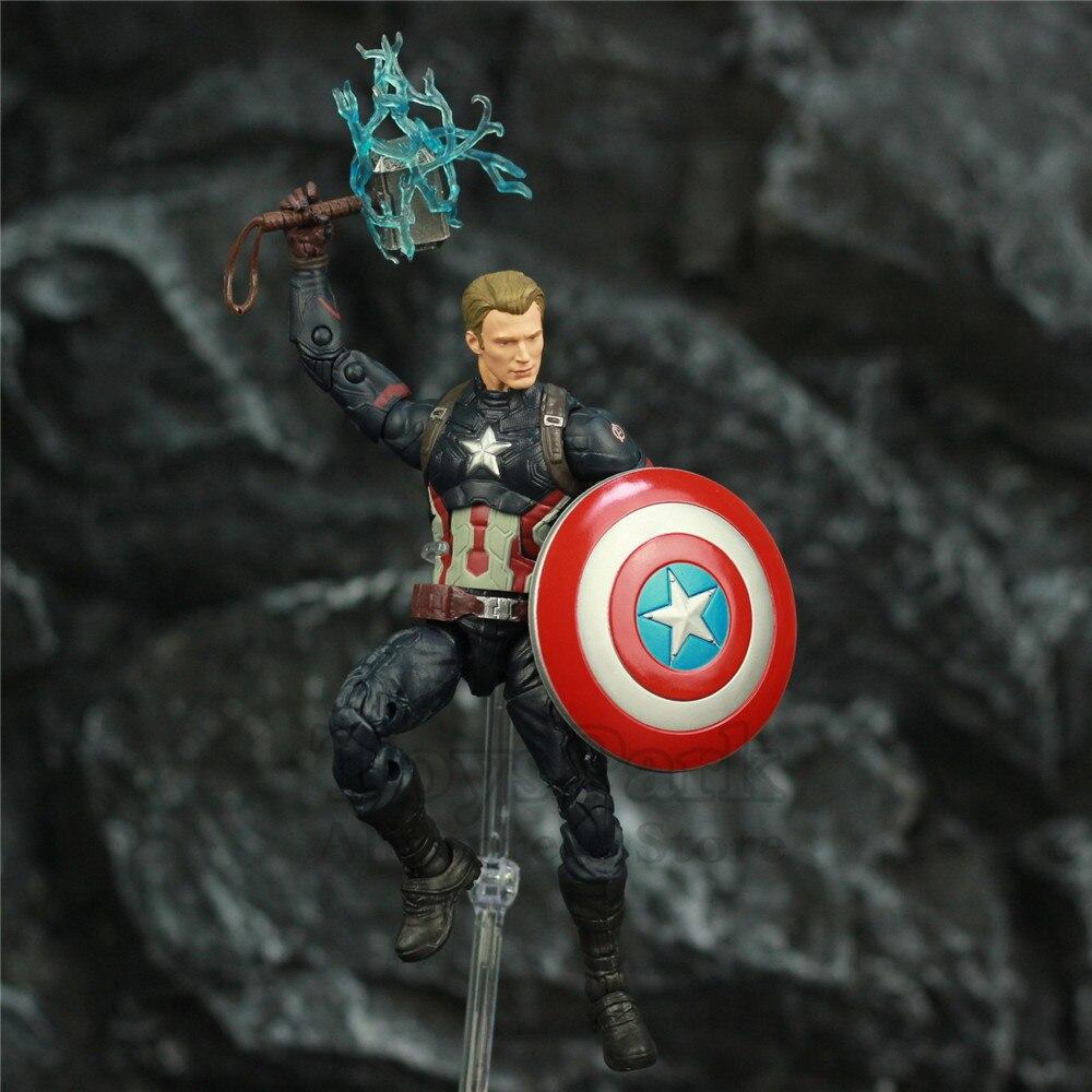 """Image 2 - Avengers Endgame Captain America 6"""" Action Figure KOs Marvel Legends Custom Steven Rogers Mjolnir Worthy Captain Head Doll ToysAction & Toy Figures   -"""