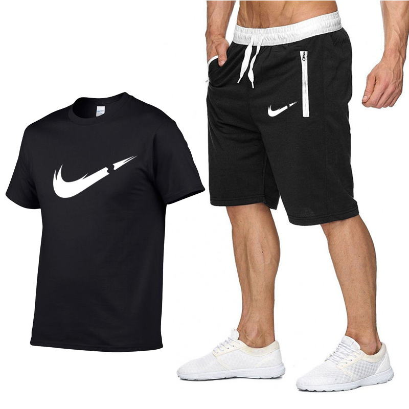 2019 New Tracksuit Mens   T  -  Shirts   2piece Summer cotton Short Sleeve   T     Shirts  +Shorts casual Tee   Shirts   Male sport   T     shirt   Suit