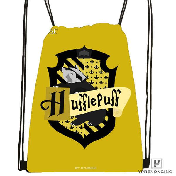 Custom Hufflepuff-@02-Drawstring Backpack Bag Cute Daypack Kids Satchel (Black Back) 31x40cm#180611-03-127