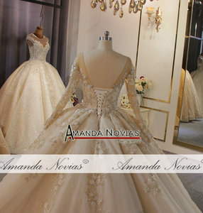Image 5 - אמנדה Novias מותג חתונה שמלה באיכות גבוהה תחרה העבודה האמיתית דובאי שמלות כלה