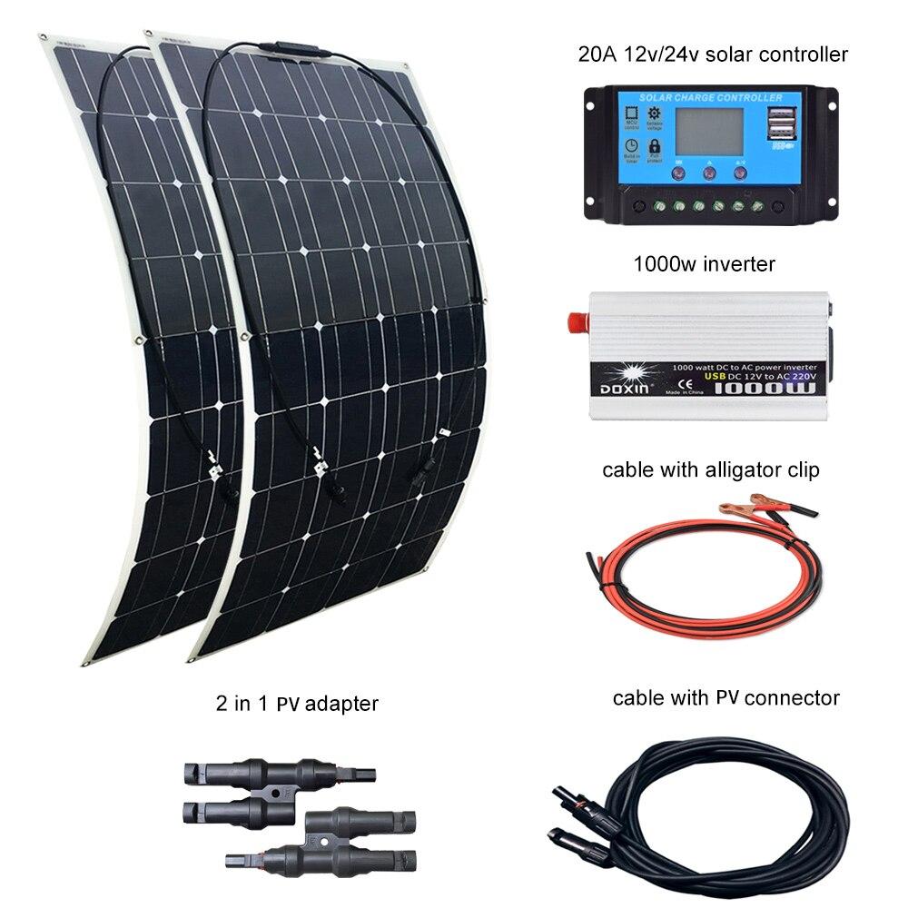 BOGUANG 2 uds 100W Panel Solar 12V / 24V 20A controlador y 110V o 220V 1000W inversor 200W SISTEMA DE kit de paneles solares para el hogar
